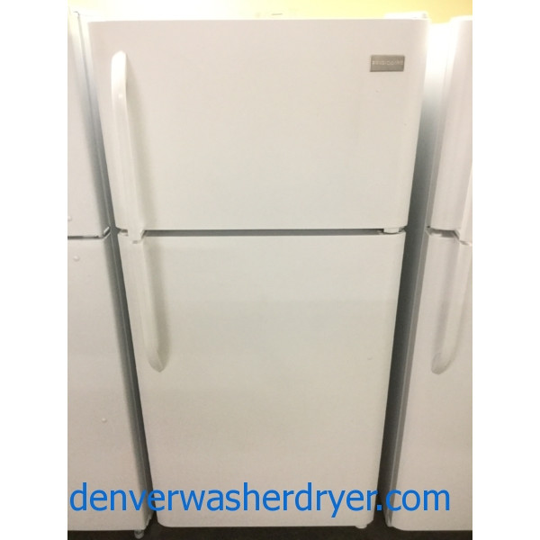 Used Frigidaire Top-Bottom Refrigerator in White, 18 Cu. Ft., Clean and Good Working, 1-Year Warranty!