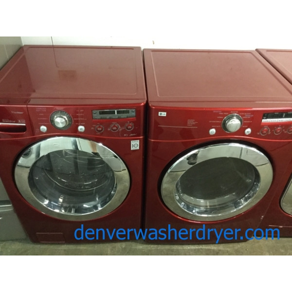 Cherry Red Stackable Front-Load Washer Dryer Set, Electric, Steam/Sanitary, Quality Refurbished, 1-Year Warranty