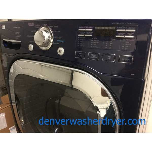 Navy Blue Lg Front Load Laundry Set Direct Drive He Washer W