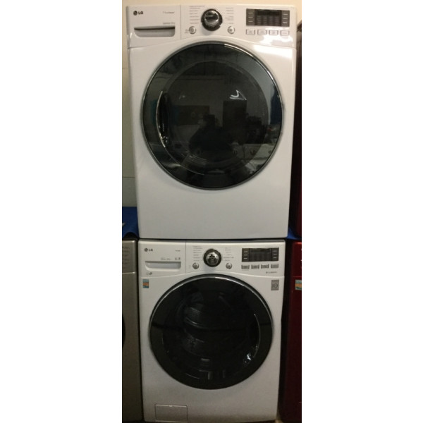 Front-Load LG Washer/Dryer Set, Stackable, Electric, Steam/Sanitary Cycles, Quality Refurbished