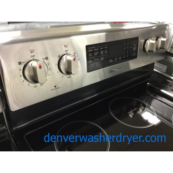 Brand-New Stainless Steel Samsung Range, Glass-Top Stove, Convection Oven, 1-Year Warranty