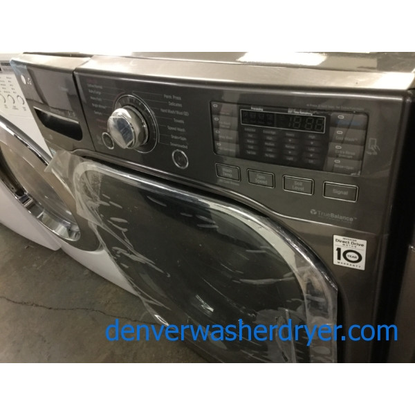 New! Scratch/Dent LG Front-Load LG Laundry Set, *GAS* Dryer, Steam/Sanitary Washer, Black Stainless, 1-Year Warranty