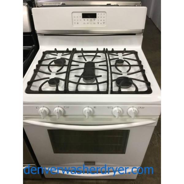 White 30″ Gas Range, 5-Burner, Convetion Oven, Used, Works Great, 1-Year Warranty!