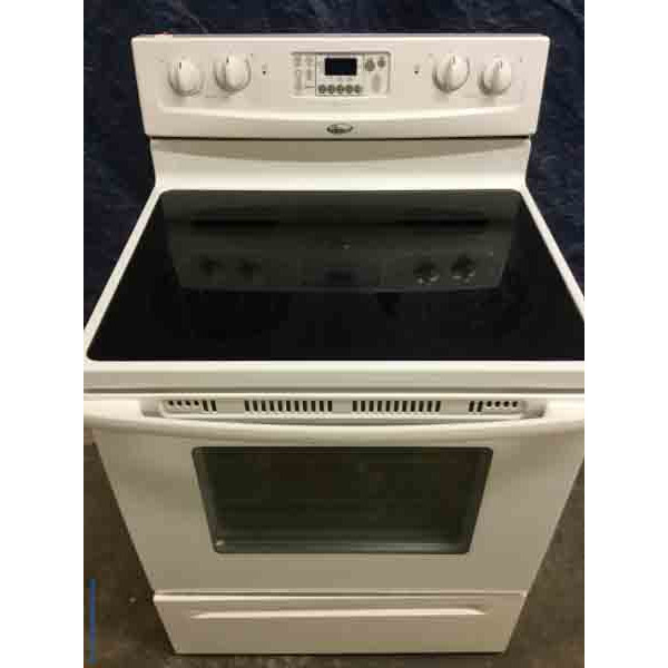 Slick White Glass-Top Stove, 30″ Whirlpool, Electric, 1-Year Warranty