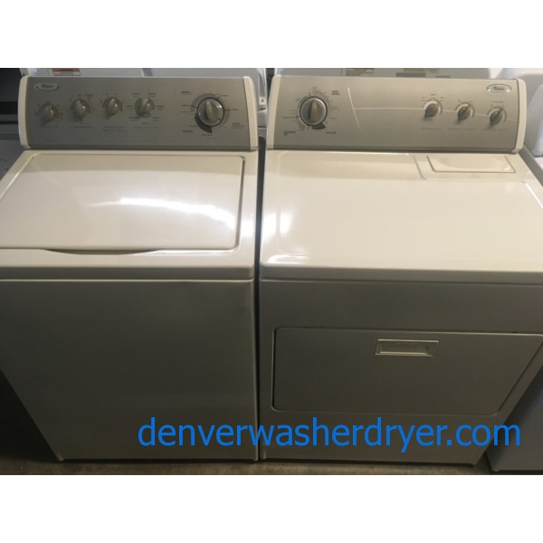 Heavy-Duty, Direct-Drive Whirlpool Washer Dryer Set, Almond, Electric, Fully Featured, Quality Refurbished, 1-Year Warranty!