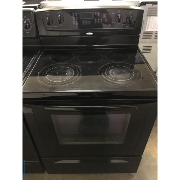 Electric Glass-Top Range, Black, Whirlpool, 30″, Good Condition, Self-Cleaning, 1-Year Warranty