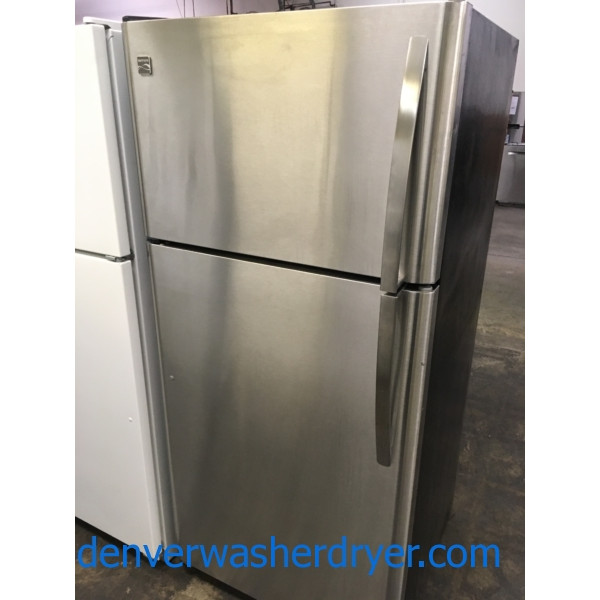Stunning Stainless Refrigerator, Kenmore, Top-Mount, 18 Cu. Ft., Clean, Cold, Perfect