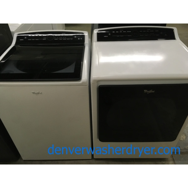 Fancy Newer Model Whirlpool Washer Dryer Set, HE 5.3 Cu. Ft. Washer, Electric HE Dryer, 1-Year Warranty