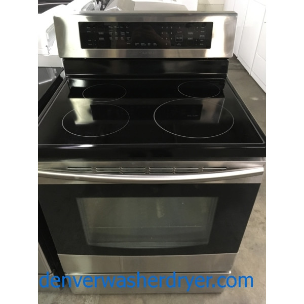 Brand-New Induction Range, Samsung, Glass-Top, Convection Oven, 30″ Freestanding, 1-Year Warranty