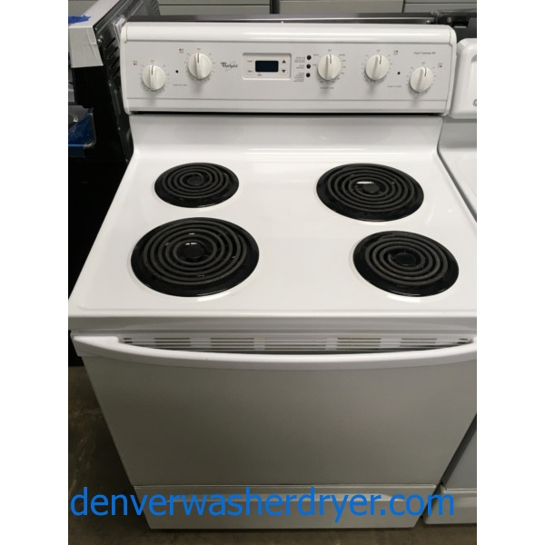 Whirlpool 30″ Free-Standing Electric Coil-Top Range, 1-Year Warranty