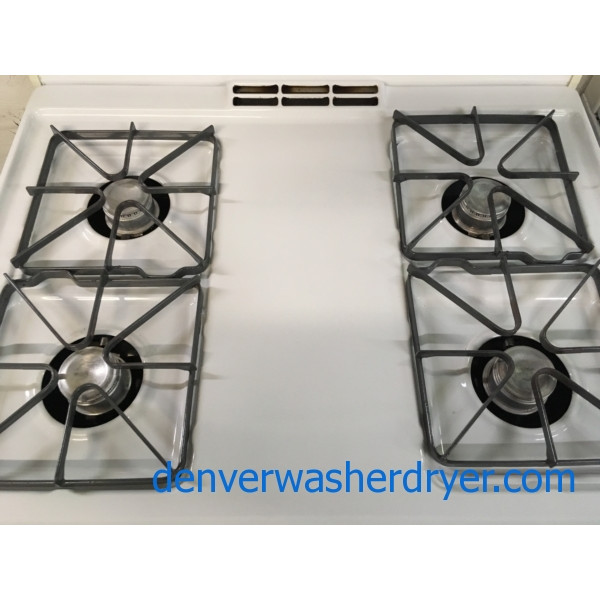 30″ Free-Standing GE *GAS* Range, White, 1-Year Warranty