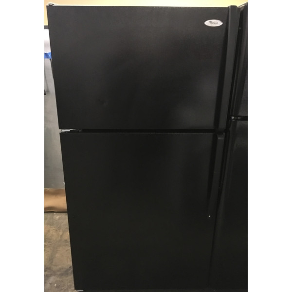 (21 Cu. Ft.) Black Refrigerator by Whirlpool, Top-Mount, Clean, Perfectly Working, 1-Year Warranty!