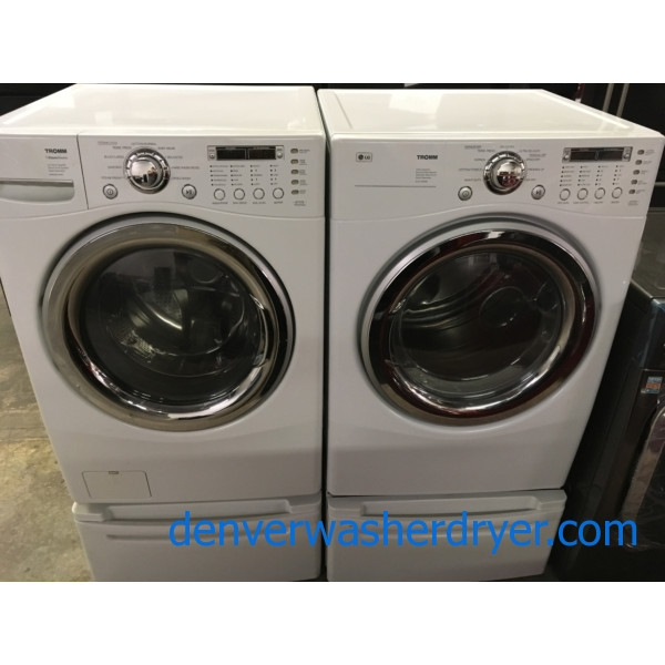 Quality Refurbished HE 27″ LG Stackable Front-Load Steam-Washer & *GAS* Dryer Set w/Pedestals, 1-Year Warranty