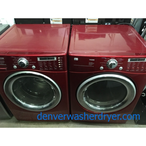 27″ Wild Cherry Colored LG Front-Load Stackable Direct-Drive HE Steam-Washer with Sanitary Cycle & *GAS* Dryer, 1-Year Warranty