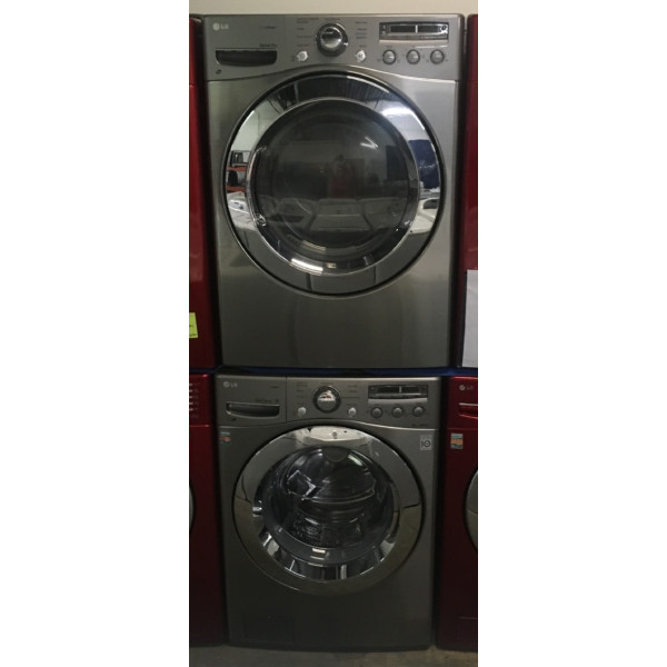 27″ Quality Refurbished LG Front-Load Stackable Washer & Electric Dryer, 1-Year Warranty