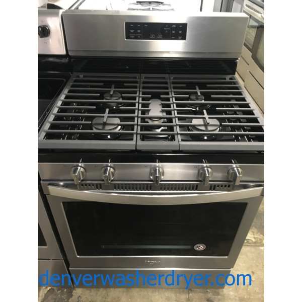 New! Whirlpool Gas Range, Convection, Stainless, 5-Burner, 1-Year Warranty!