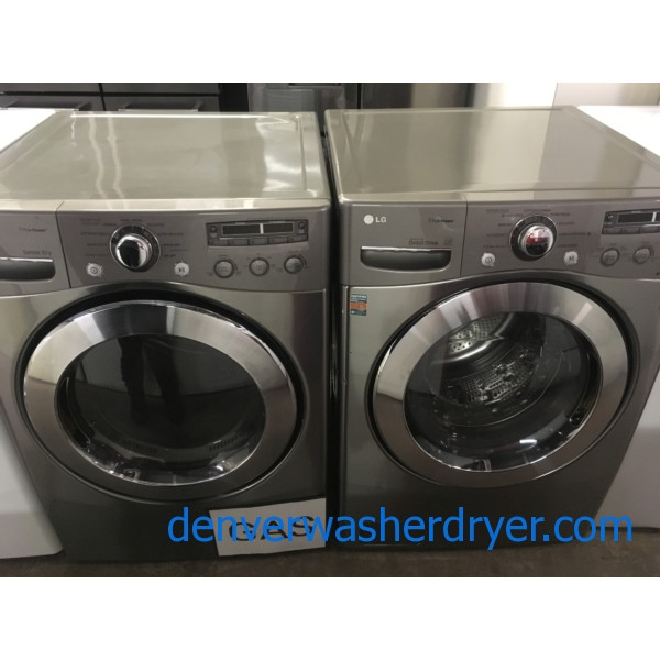 Lovely LG Front-Load Set, Graphite Steel, HE, GAS, Steam, Quality Refurbished, 1-Year Warranty!