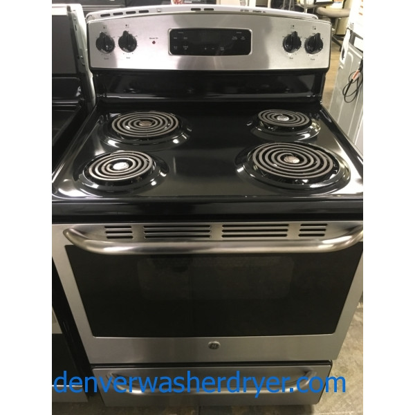 Great GE 30″ Range, Free-Standing, Black/Stainless, 220V, Capacity 5.0 Cu.Ft., Quality Refurbished, 1-Year Warranty!