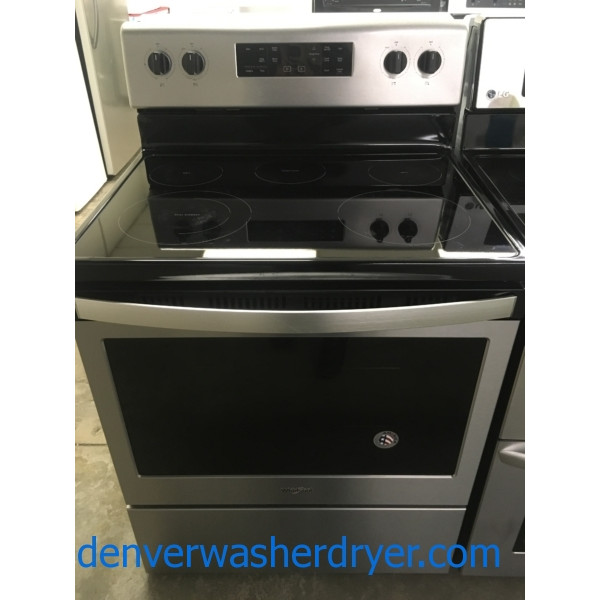Beautiful Stainless Whirlpool Range, 220V, Steam Clean, FlexHeat, Frozen Bake, Quality Refurbished, 1-Year Warranty!