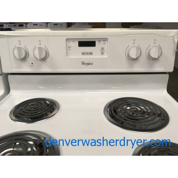 Beautiful Whirlpool White Range, Counter Depth, Capacity 4.8 Cu.Ft., 220V, Quality Refurbished, 1-Year Warranty!