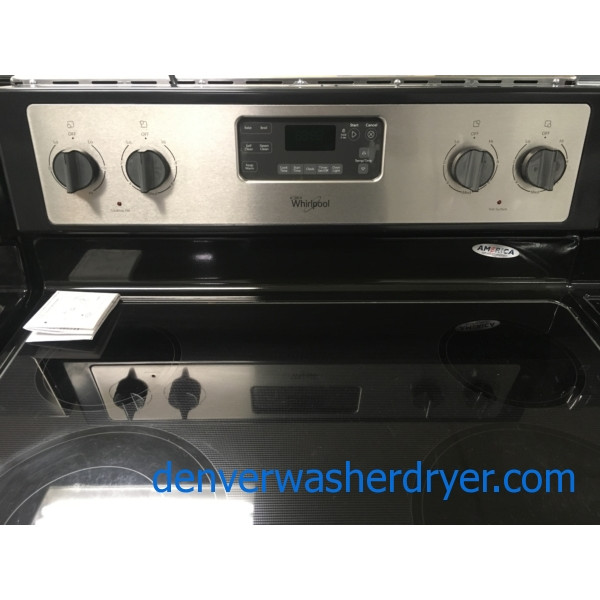 Whirlpool Electric Range, Glass-Top, Black/Stainless, Capacity 5.3 Cu.Ft., Counter Depth, Quality Refurbished, 1-Year Warranty!
