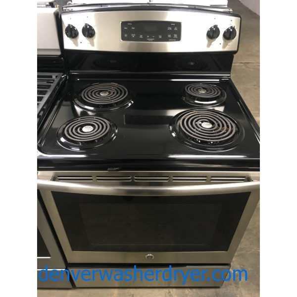 GE Stainless Range, Free-Standing, 30″ Wide, 220V, Self-Clean, Quality Refurbished, 30-Day Warranty