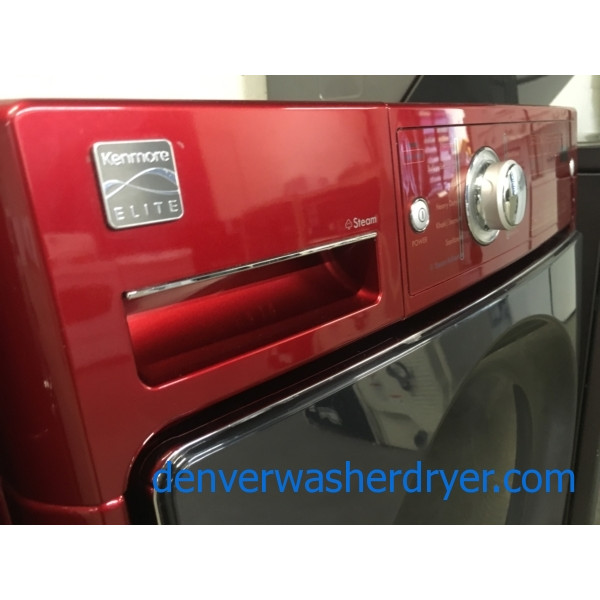 Kenmore ELITE Cherry Red Front-Load Set, Electric, HE, Energy-Star, Stackable, Quality Refurbished, 1-Year Warranty!