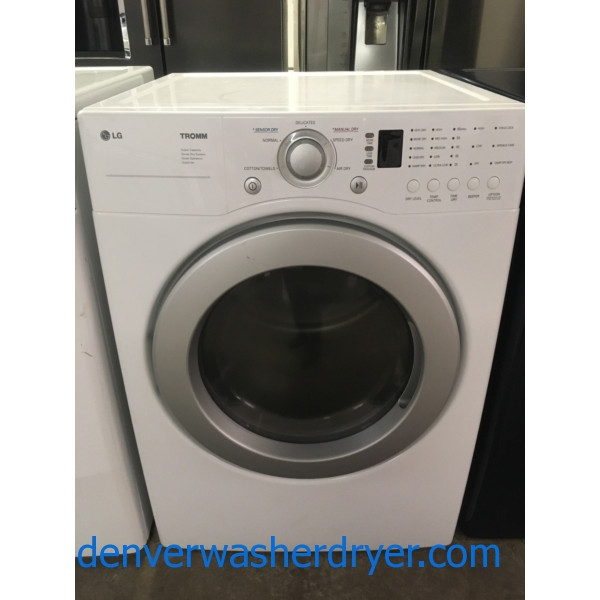 Front-Load LG TROMM Dryer, White, Super Capacity, 220V, Sense Dry, Quality Refurbished, 1-Year Warranty!