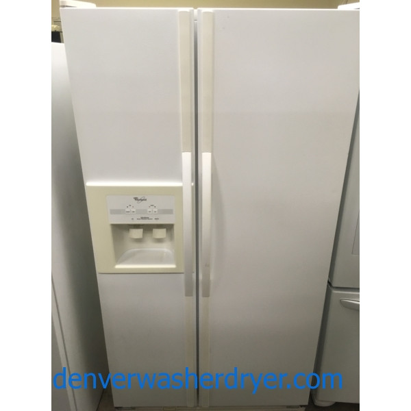 Lovely Whirlpool Side-by-Side Refrigerator, White, Capacity 25.2 Cu.Ft., Quality Refurbished, 1-Year Warranty!