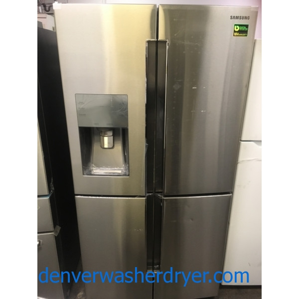 NEW!! Samsung French Refrigerator, Flawless, Counter Depth, 4 Door, Stainless, Samsung Slide In Gas Range, Stainless, Samsung Dishwasher Stainless Steel, Samsung Gallery Chef Stainless Steel Microwave,1-Year Warranty!