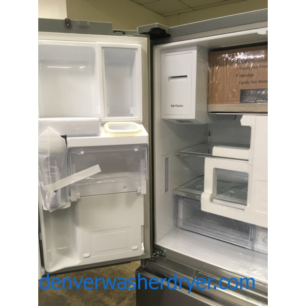 NEW!! Samsung French 4 Door Refrigerator, Recessed Handle, Stainless, Counter Depth, FlexZone, 1-Year Warranty!
