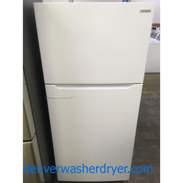 NEW!! Insignia Top-Mount Refrigerator, White, Recessed Handle, Capacity 18.0 Cu.Ft., 1-Year Warranty!