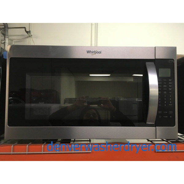 Modern Whirlpool Stainless Microwave, Over the Range, Sensor Cooking, w/ Rack, Capacity 2.1 Cu.Ft., 1-Year Warranty!