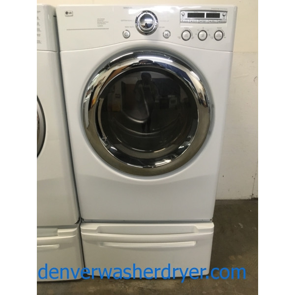 LG Front-Load Dryer, Ultra Capacity, White, Pedestals, Quality Refurbished, 1-Year Warranty!