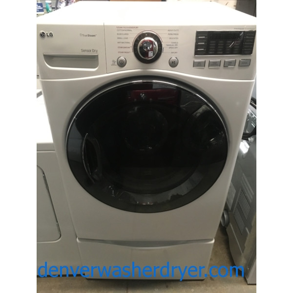 Beautiful LG Dryer, Sensor Dry, White, w/ Pedestals, Anti-Bacterial Cycle, Steam, Quality Refurbished, 1-Year Warranty!
