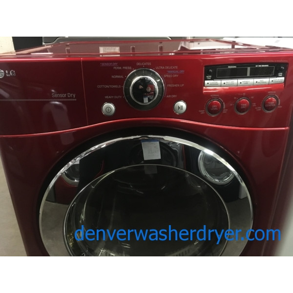 LG Wild Cherry Red Front-Load Dryer, 220V, Sanitary and Wrinkle Care Options, Quality Refurbished, 1-Year Warranty!