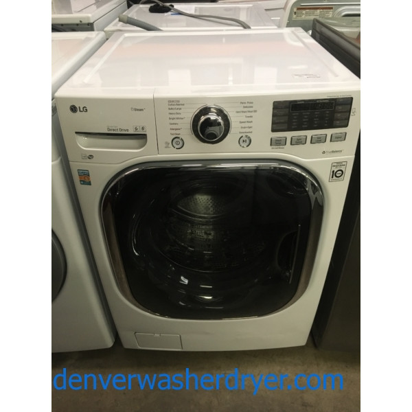 NEW!! LG Steam Washer, White, Stainless Drum, HE, Allergenie and Sanitary Features, 1-Year Warranty!