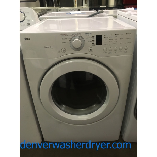 Nice LG Dryer, Sensor Dry, White, Stackable, 220V, 27″ Wide, Capacity 7.1 Cu.Ft., Quality Refurbished, 1-Year Warranty!
