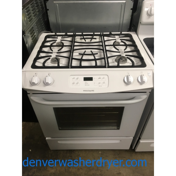 RARE! White Frigidaire Range, Slide-In, GAS, 4 Burner, Quality Refurbished, 1-Year Warranty!