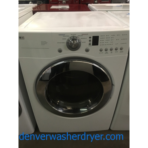 Great LG Super Capacity Dryer, White, Sensor Dry, 220V, Wrinkle Care, Quality Refurbished, 1-Year Warranty!