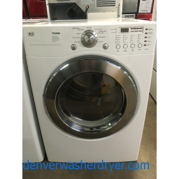 Lovely LG TROMM Dryer, White, 220V, Anti-Bacterial and Wrinkle Care Feature, Capacity 7.3 Cu.Ft., Quality Refurbished, 1-Year Warranty!