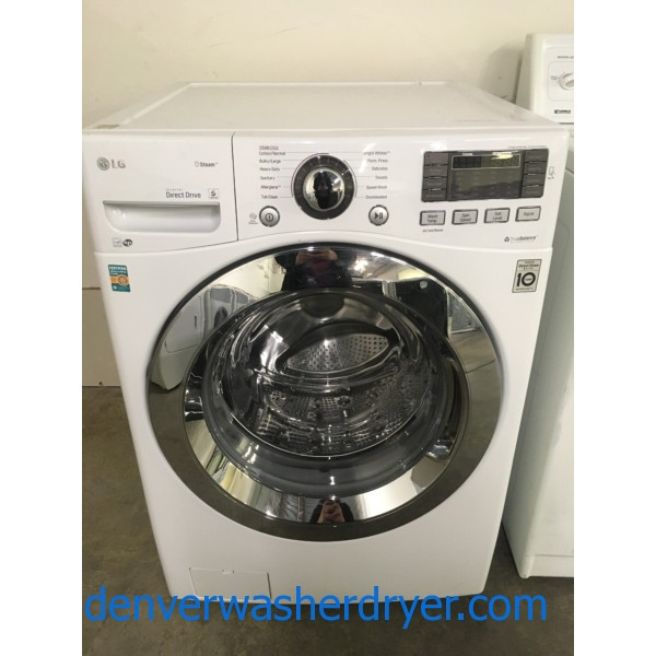 NEW! LG Steam Washer, Front-Load, White, HE, Sanitary and Allergiene Cycles, Quality Refurbished, 1-Year Warranty!