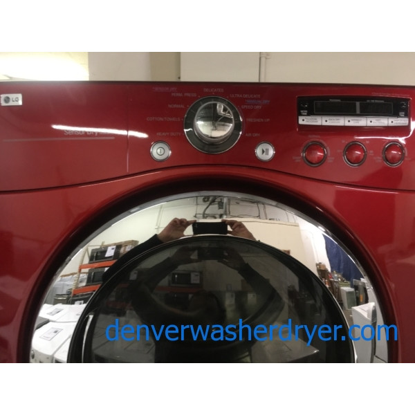 Great LG Wild Cherry Red Dryer, Electric, HE, 7.3 Cu.Ft. Capacity, Stainless Drum, Electric, Sanitary, Quality Refurbished, 1-Year Warranty!