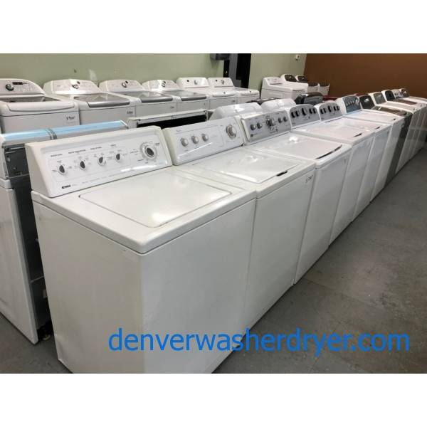 "Single Top Load Washers, Every Option, HE, ""Old-School"" Mechanical, 24″ Wide, New and Used, With Warranty!"