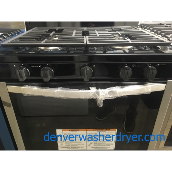 NEW!! Free-Standing Whirlpool Range, GAS, Stainless, 5 Burner, Under-Oven Broiler, 1-Year Warranty!