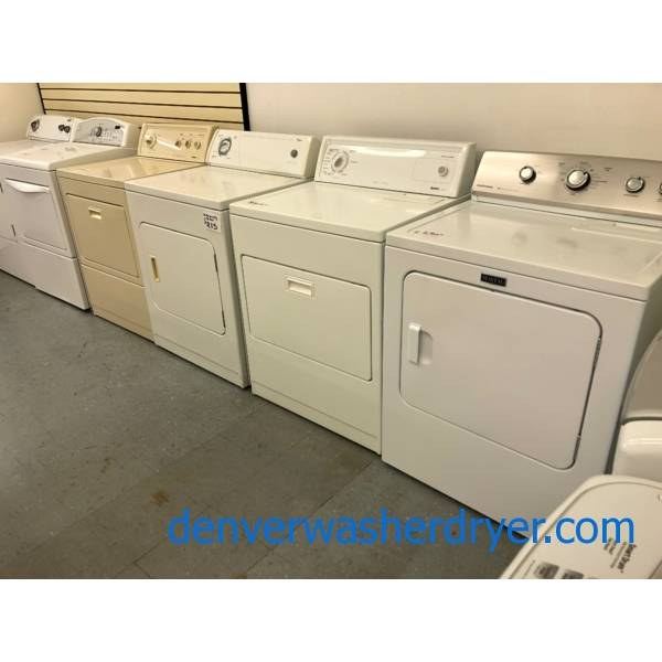 "Single ""Top-Load"" Dryers, Top Control, 27″ and 29″ Wide, ""Flat-Back,"" HE, Electric, Gas, New and Used, Warrantied!"