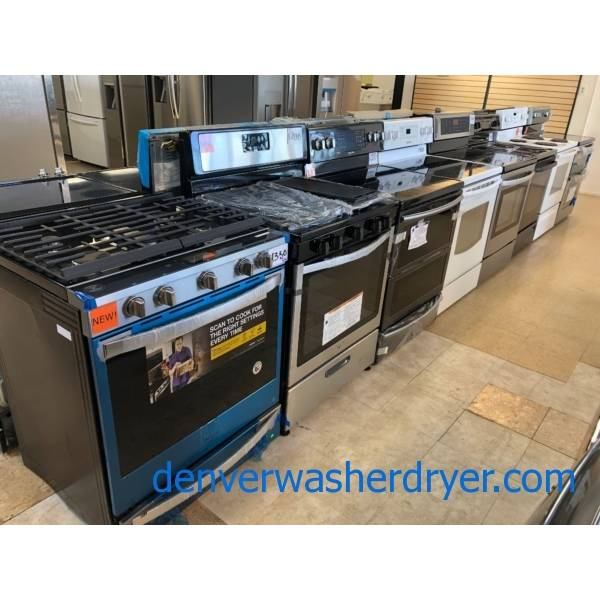 Range, Stove, Oven, 30″, Gas, Electric, Induction, Slide-In, Coil-Top, Glass-Top, Convection, Stainless, Black, White, New, Used, Warrantied