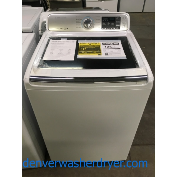 NEW!! Samsung SmartCare Washer, VRT Plus, Glass Lid, HE, Wash-Plate Style, Stainless Drum, Quality Refurbished, 1-Year Warranty!