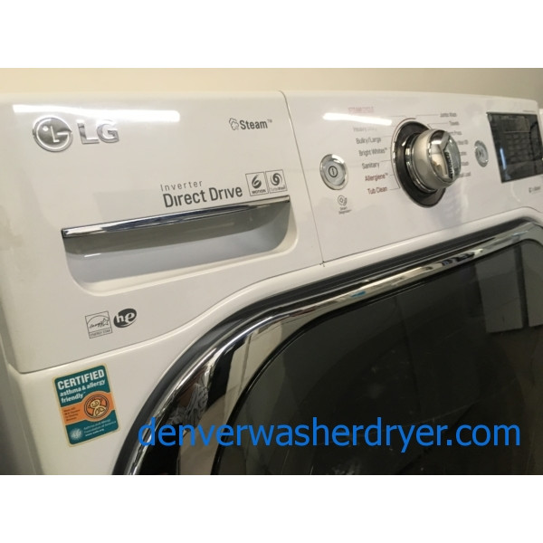 LG Steam Front-Load Set, White, Sanitary Cycles, 29″ Wide, HE, Energy-Star Rated, Wrinkle Care, Quality Refurbished, 1-Year Warranty!