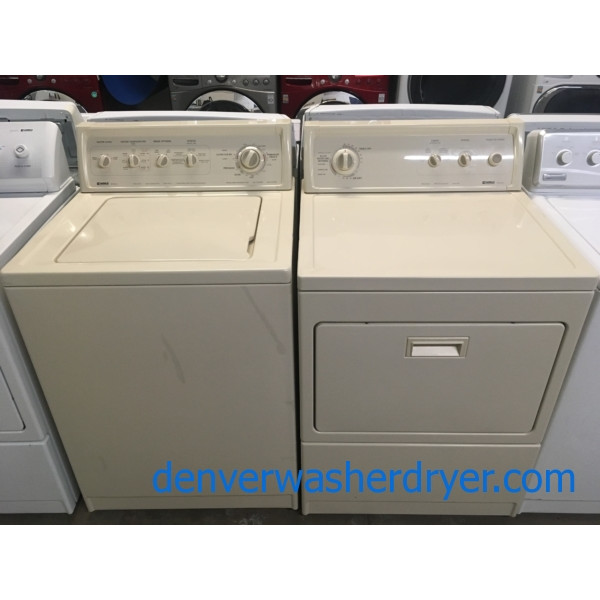 Awesome Bisque Kenmore 90 Series Set, Heavy-Duty, Agitator, 27″ Wide, 220V, Quality Refurbished, 1-Year Warranty!